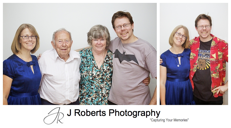 Adult siblings with their parents in a family portrait - sydney family portrait photography